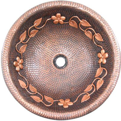 Round Copper Vanity Sink with Floral Accent