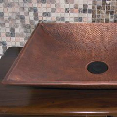 Shallow Square Vessel Copper Sink