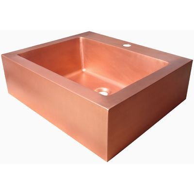 Square Copper Vessel Sink with Rectangular Bowl