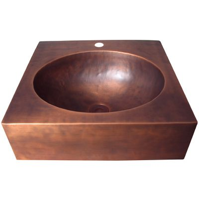 Square Copper Vessel Sink with Oval Bowl