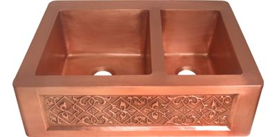 Double Bowl Copper Farmhouse Kitchen Sink