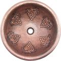 Round Copper Vanity Sink with Grape Clusters Accen